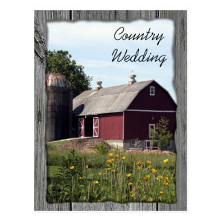 Red Barn Country Wedding Save the Date Postcard
