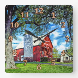 Red Barn Decor Personalized Wall Clocks