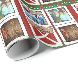 Red Barn Door  3 Photo Custom Country Holiday Wrapping Paper