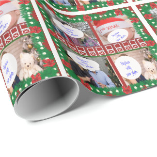 Red Barn Door 4 Photo Custom Country Holiday Wrapping Paper
