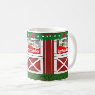 Red Barn Door Custom 3 Photo Holiday Coffee Mug