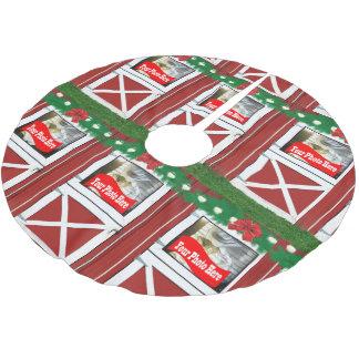 Red Barn Door Custom 6 Photo Holiday Brushed Polyester Tree Skirt