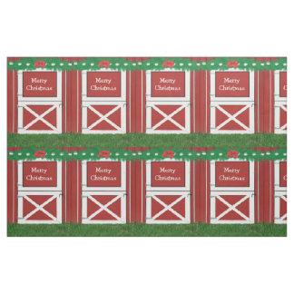 Red Barn Door Custom Greeting Holiday Fabric