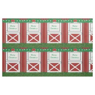 Red Barn Door Custom Greeting Holiday Fabric #2