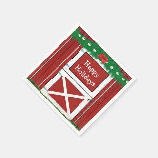 Red Barn Door Custom Holiday Party Napkins #2 Paper Napkin