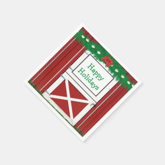 Red Barn Door Custom Holiday Party Napkins Disposable Napkins