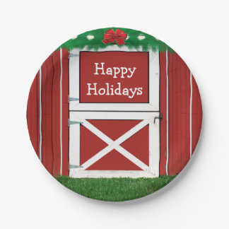 Red Barn Door Custom  Holiday Party Plates