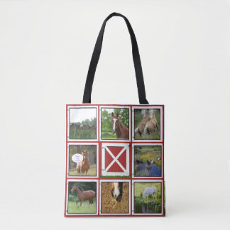 Red Barn Door  Custom Photo Tote Bag Horse