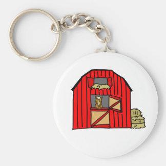 Red Barn Farm Scene Equine Horse Stall Keychain