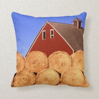 Red Barn Hay Bales Farm Throw Pillow