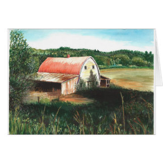 Red barn in a field card