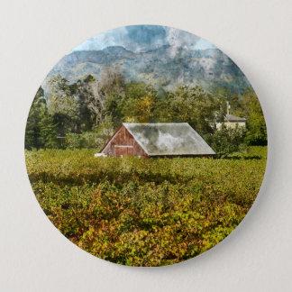 Red Barn in a Vineyard 4 Inch Round Button