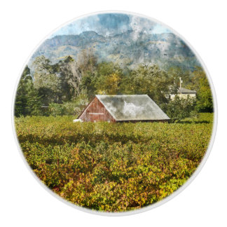 Red Barn in a Vineyard Ceramic Knob