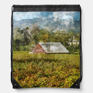 Red Barn in a Vineyard Drawstring Bag