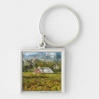 Red Barn in a Vineyard Keychain