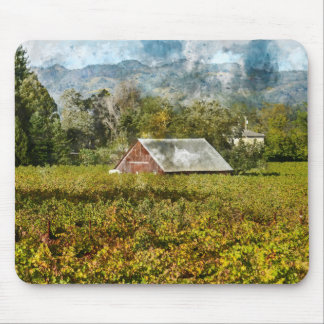 Red Barn in a Vineyard Mouse Pad