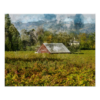 Red Barn in a Vineyard Poster
