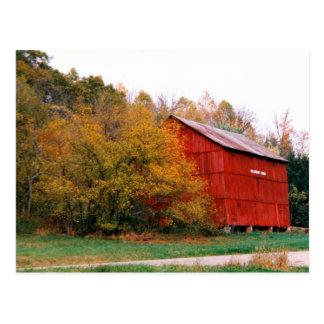 Red Barn in Fall Postcard
