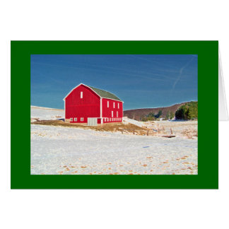 Red Barn in Snow Card