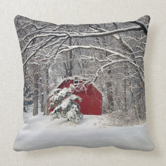Red Barn in the Snow 2011 Pillow
