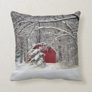 Red Barn in the Snow 2011 Throw Pillow