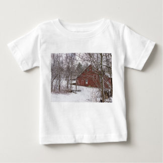 Red Barn In The Snow Baby T-Shirt