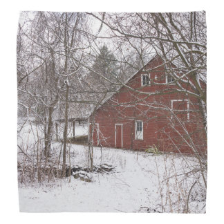 Red Barn In The Snow Bandana