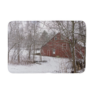 Red Barn In The Snow Bath Mat