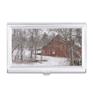 Red Barn In The Snow Business Card Holder
