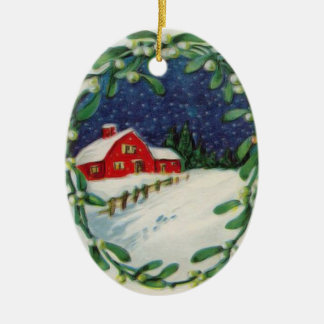 Red barn in the snow Christmas Ornament