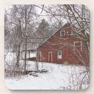 Red Barn In The Snow Coaster