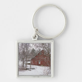 Red Barn In The Snow Keychain