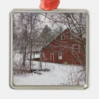 Red Barn In The Snow Metal Ornament