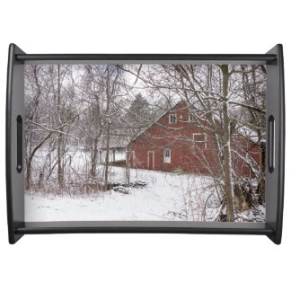 Red Barn In The Snow Serving Tray