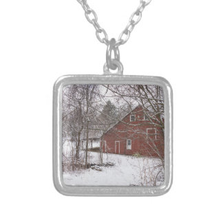 Red Barn In The Snow Silver Plated Necklace