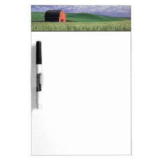 Red barn in wheat & barley field in Whitman 2 Dry Erase Board