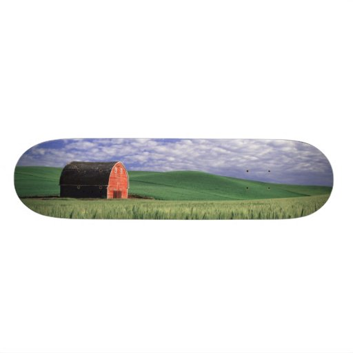 Red barn in wheat & barley field in Whitman 2 Custom Skateboard