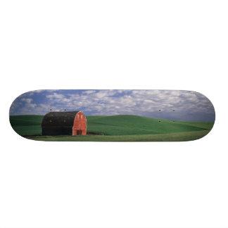 Red barn in wheat & barley field in Whitman Skateboard Decks