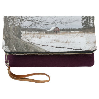 Red Barn in Winter Foldover Clutch