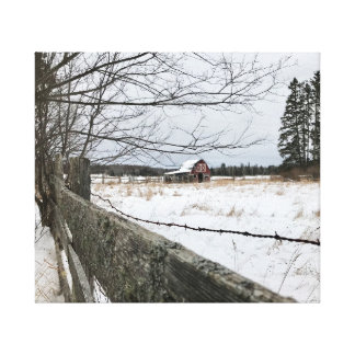 Red Barn in Winter on Canvas