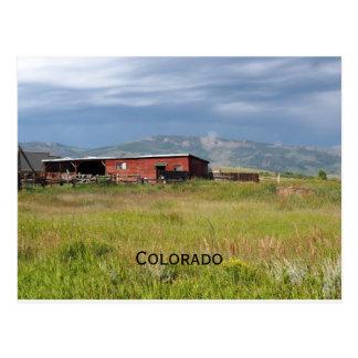 red barn on a Colorado prairie Postcard