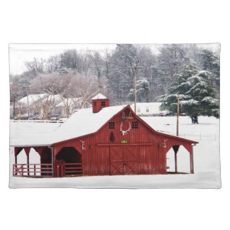 red barn place mat