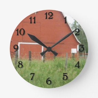 Red Barn Round Clock