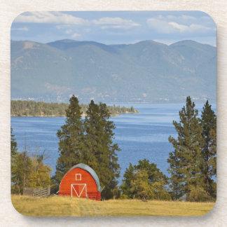 Red barn sits along scenic Flathead Lake near Drink Coaster