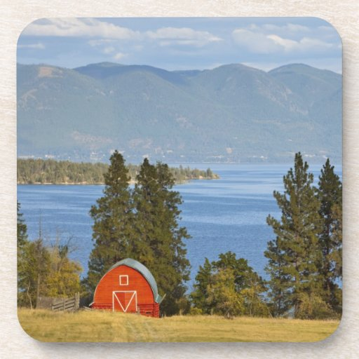 Red barn sits along scenic Flathead Lake near Drink Coaster