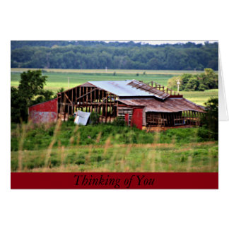 Red Barn Thinking of You Note Card