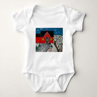 Red Barn Tree Farm Baby Bodysuit