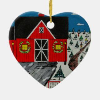Red Barn Tree Farm Ceramic Ornament