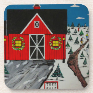 Red Barn Tree Farm Coaster