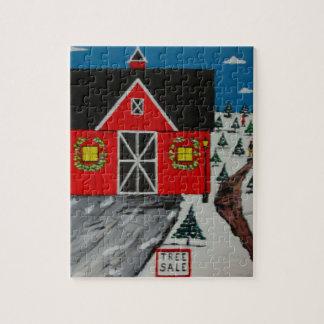 Red Barn Tree Farm Jigsaw Puzzle